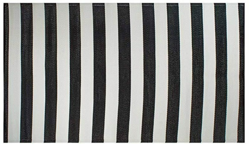 Striped outdoor mat