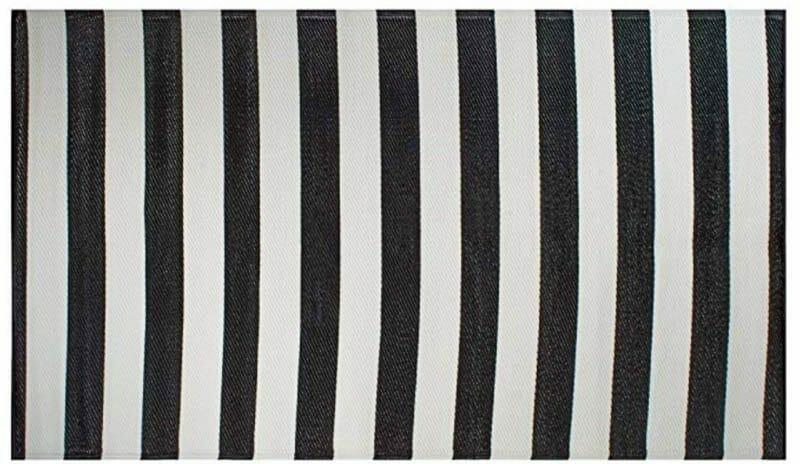 Striped outdoor mat