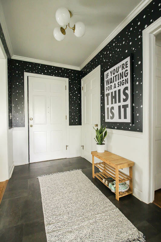Small Space Entry Makeover in Black and White