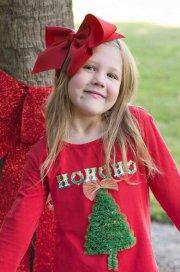 big red hair bow - girls christmas