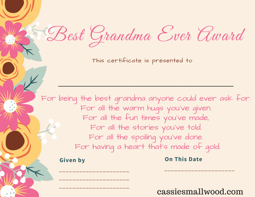 Free Printable Best Grandma Certificate Of Appreciation