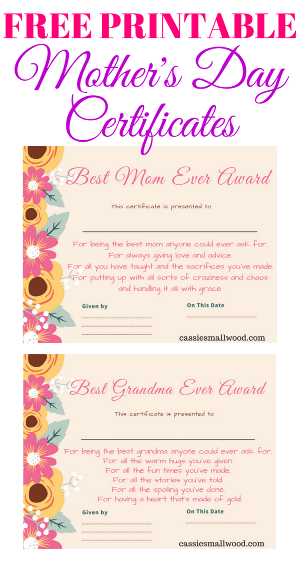 Free Mother39s Day Printable Certificate Awards For Mom And