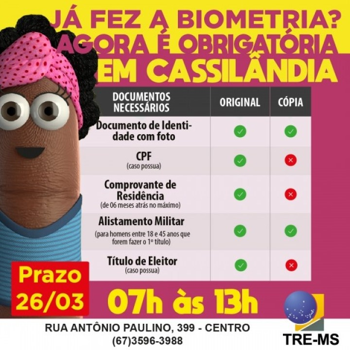 Cassilândia: confira os documentos necessários para o recadastramento biométrico