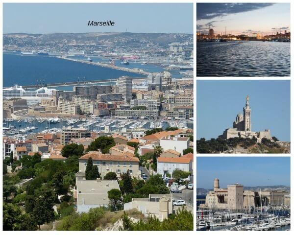 Blick auf Marseille und einige der Sehenswürdigkeiten