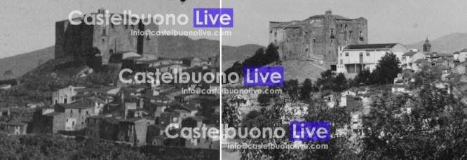 foto 4. Queste due foto rendono l'idea di come il volume del vecchio Teatro comunale non interferisse con il prospetto del Castello