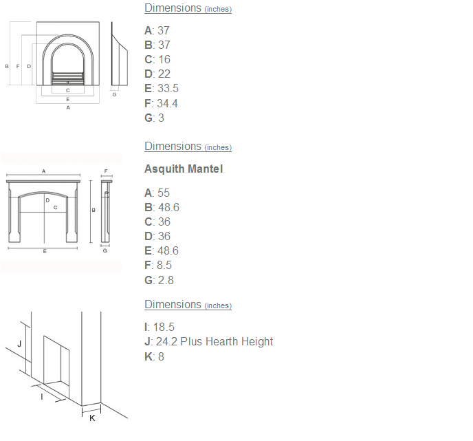 Any Black Insert and Asquith Limestone Fireplace