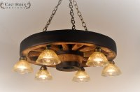 Small Wagon Wheel Chandelier With Downlights   Cast Horn ...