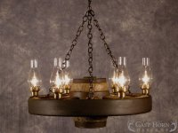 Large Wagon Wheel Chandelier with Downlights | Cast Horn ...