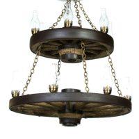 Double Wagon Wheel Chandelier   Cast Horn Designs