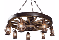 Large Wagon Wheel Chandelier with Lanterns | Cast Horn Designs