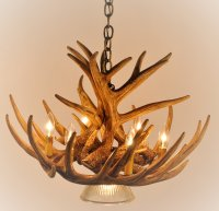 Whitetail Deer 9 Antler Cascade Chandelier with 1 ...