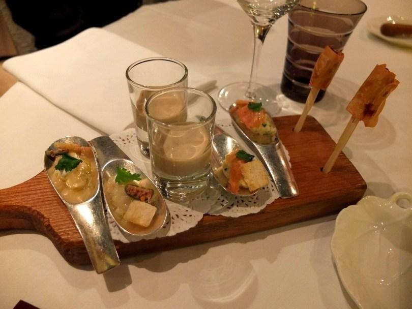 amuse bouche avec st Jacques, cèpes, saumon gravlax et foie gras poélé - Philippe Bohrer Rouffach