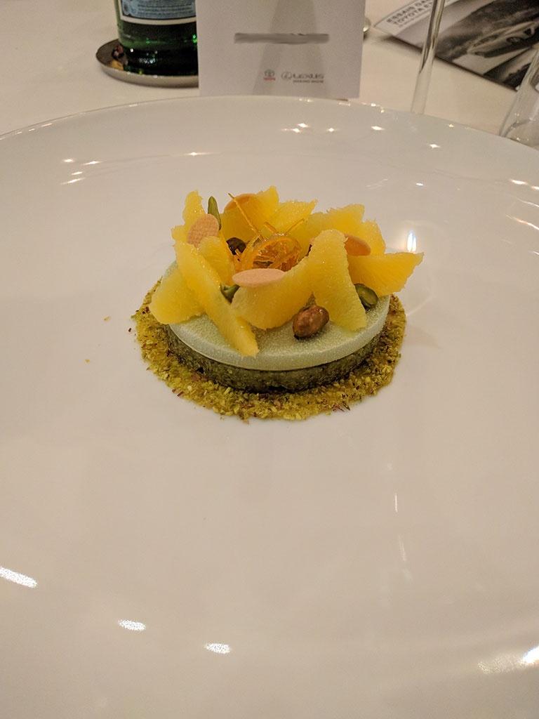 chateau de berne - restaurant de Benjamin - pistache & orange
