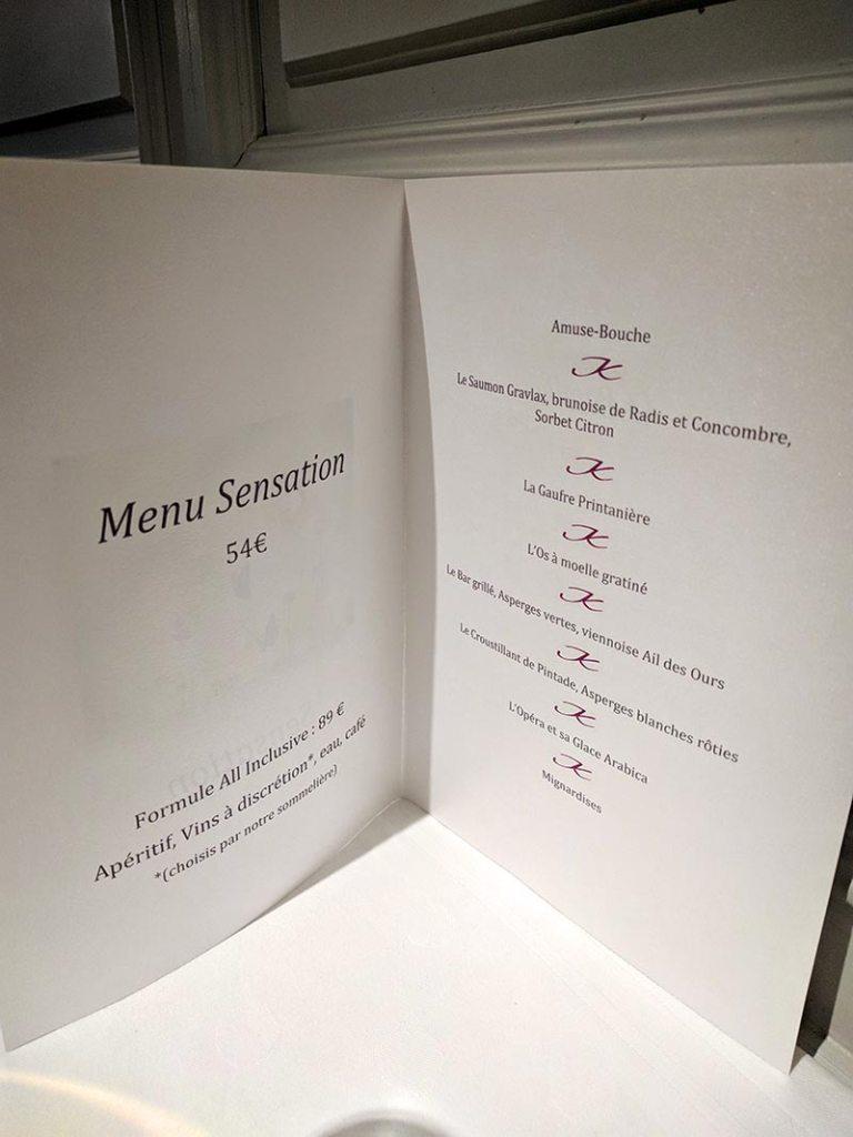 Restaurant Koehler auberge du cheval blanc à Westhalten - menu sensation