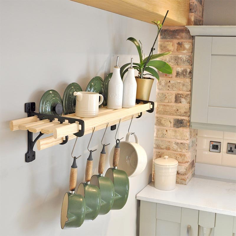 wall mounted kitchen shelves booth table 6 lath shelf rack racks | iron pan ...