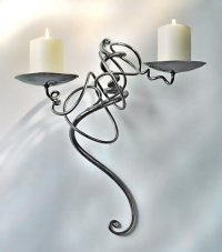 wrought iron candle wall sconce | blacksmith wall sconce ...