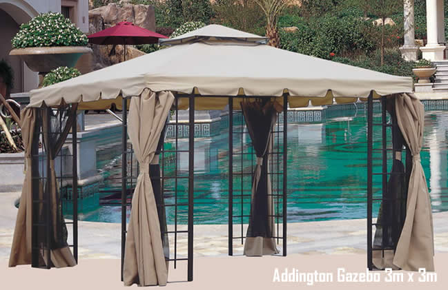 Addington Luxury Metal Garden Party Gazebo With Curtains And