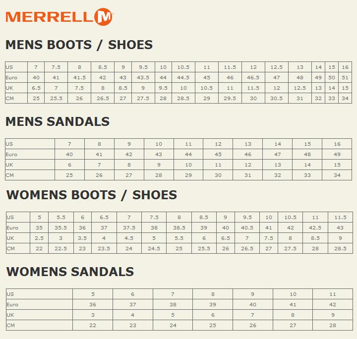 merrell size chart width 500