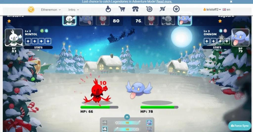 ethermon battle screen