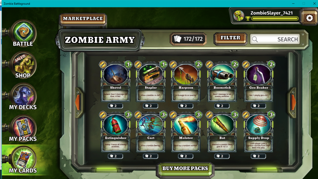 zombie army collection and marketplace
