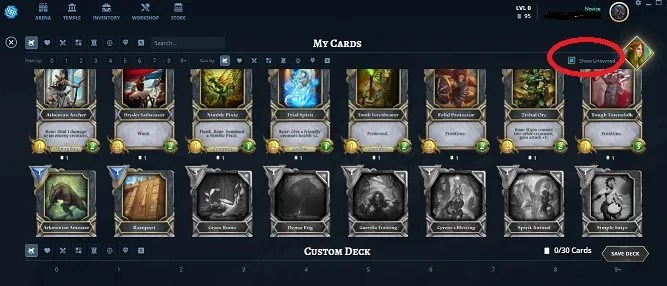 show unowned cards