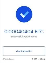 successful btc transaction