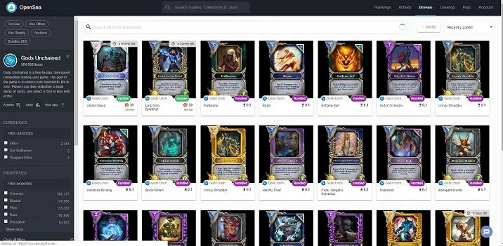 buying gods unchained cards