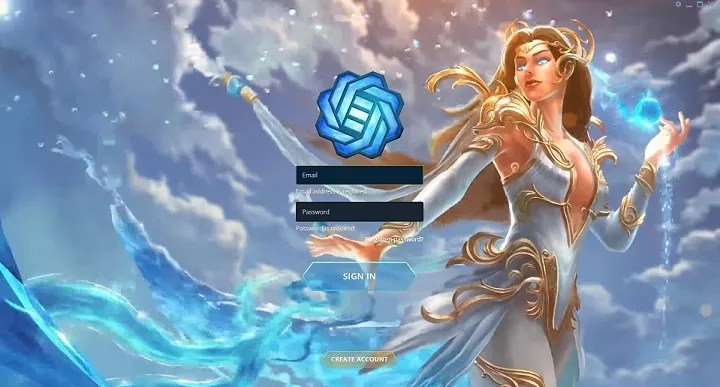 gods unchained sign in screen