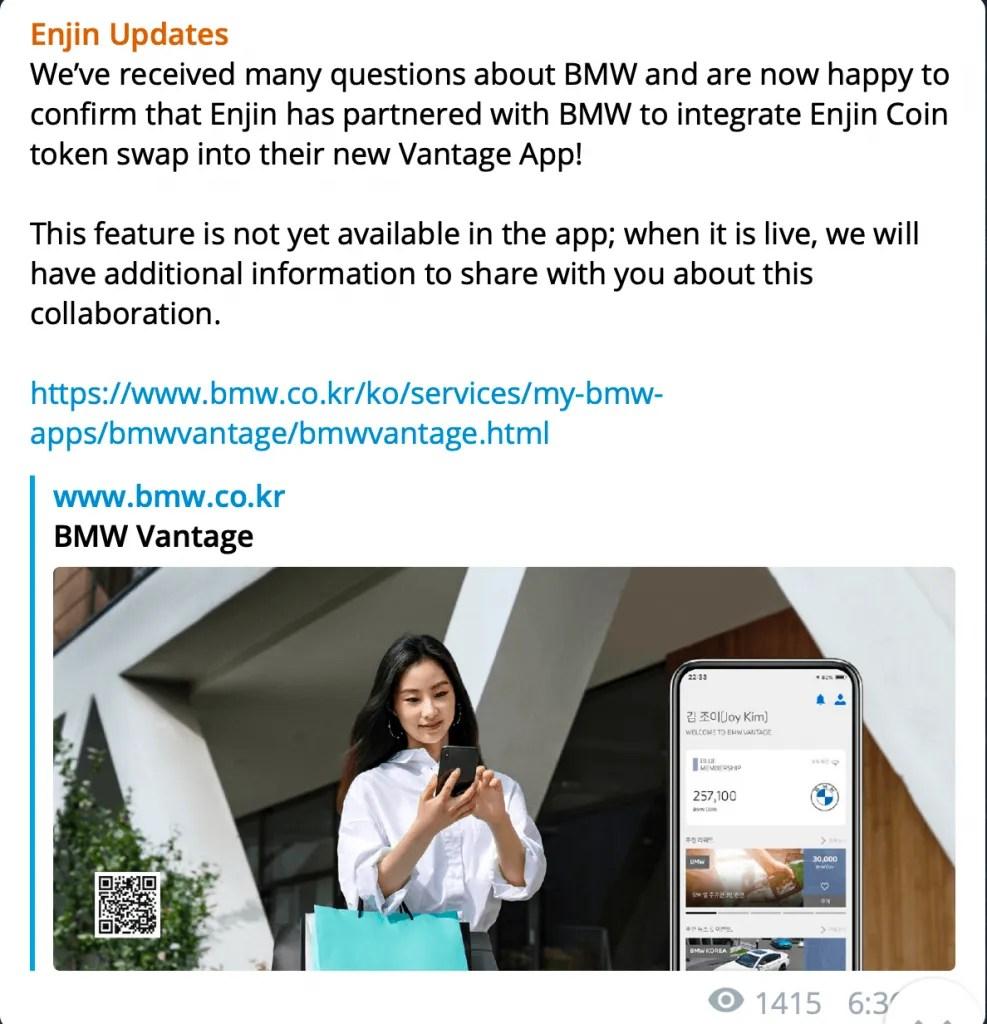 enjin bmw partnership