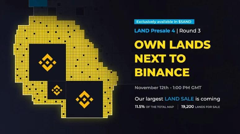 binance sandbox game land nft