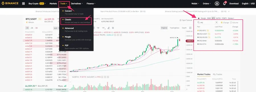 binance classic trading view