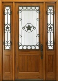 MAI wood door with decorative wrought iron-555 - Castle ...