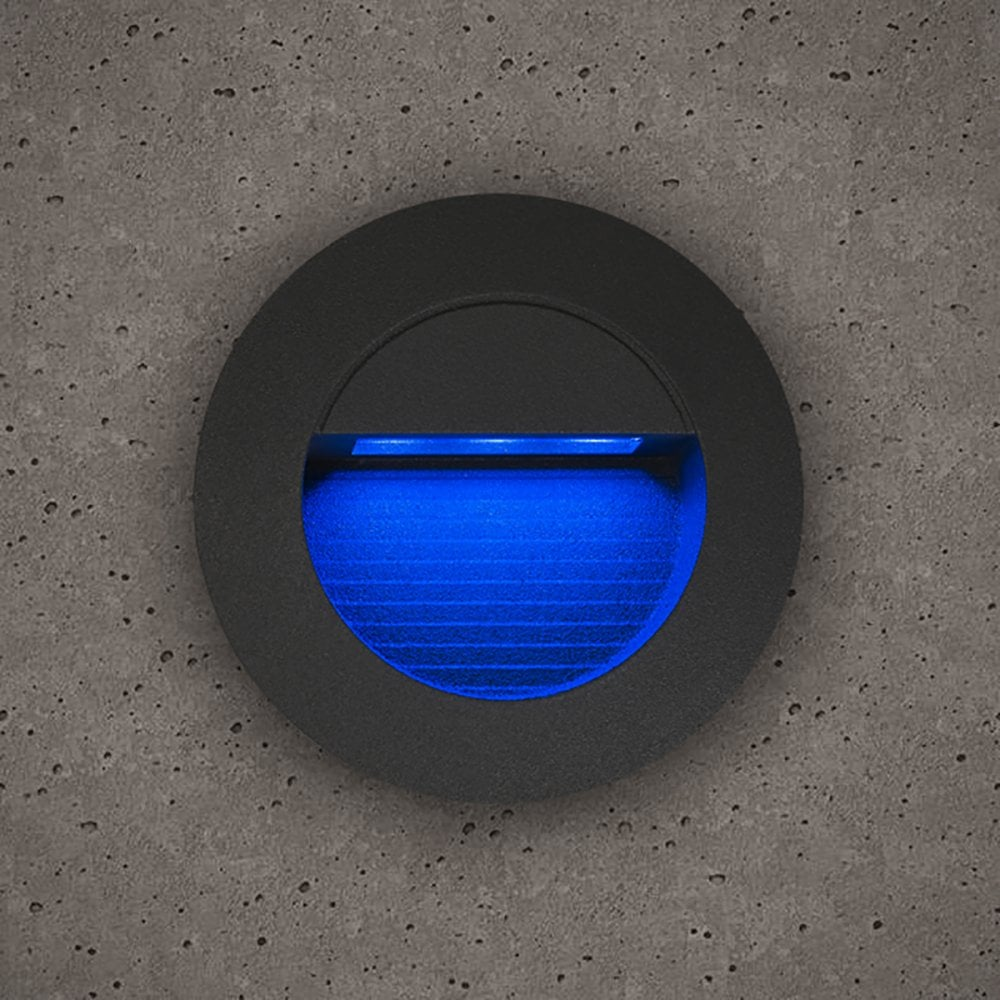 medium resolution of astro outdoor round guide light in slate grey finish with blue led light