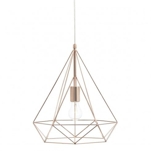 Dar Lighting Sword Single Light Ceiling Pendant In Copper