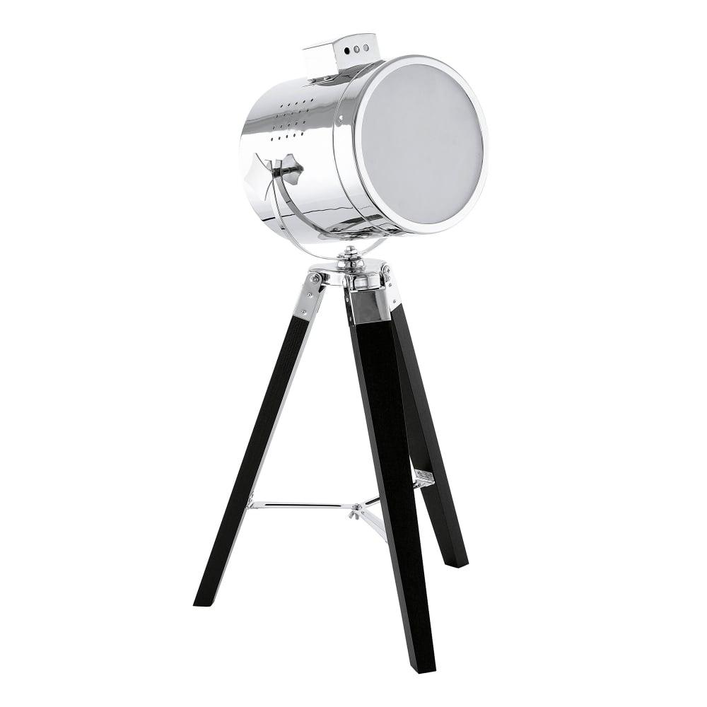 medium resolution of eglo vintage upstreet single light tripod table lamp in black wood and chrome finish product code 94367
