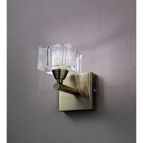 Mantra Cuadrax Single Halogen Switched Wall Light in Antique Brass Finish | Castlegate Lights