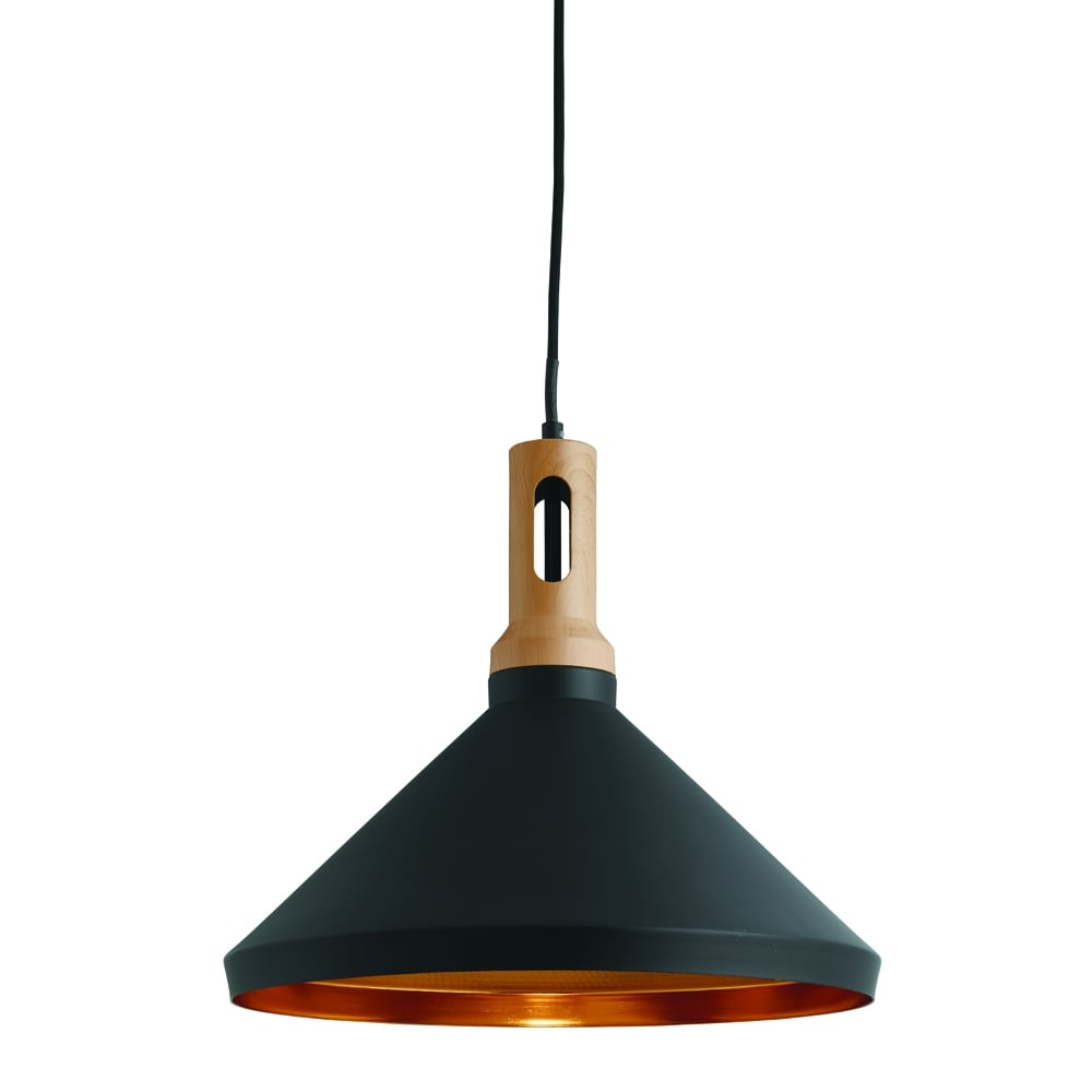 Searchlight Lighting Single Light Ceiling Pendant In Black