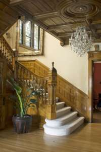 The Grand Staircase of Castle La Crosse B&B.