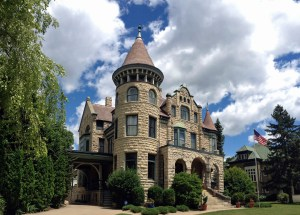 Side view of the Castle on a Sunny Day! The Carriage House is down the driveway.