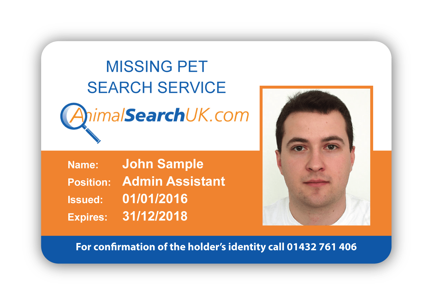 Animal Search UK Sample ID card