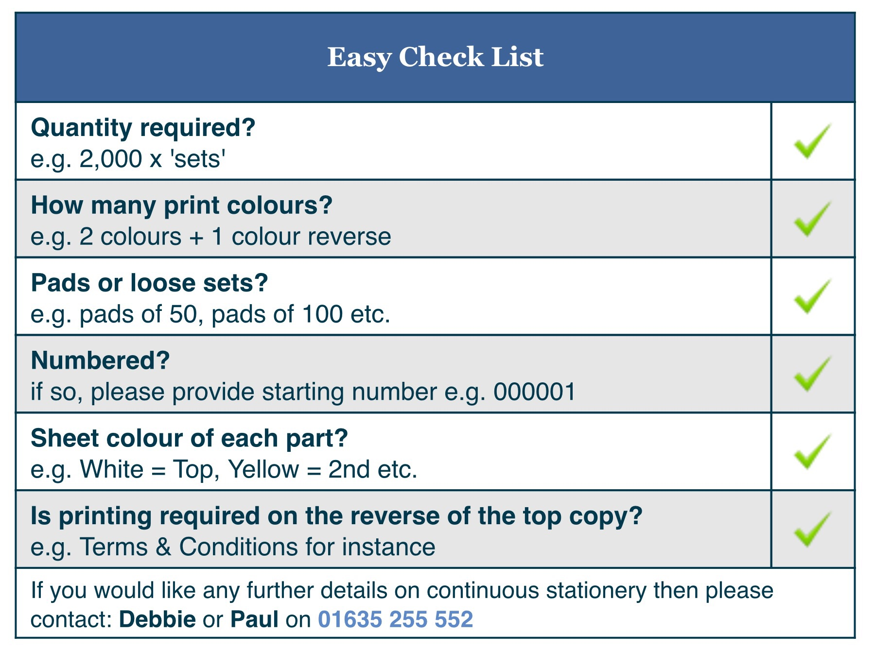 Forms Printing checklist