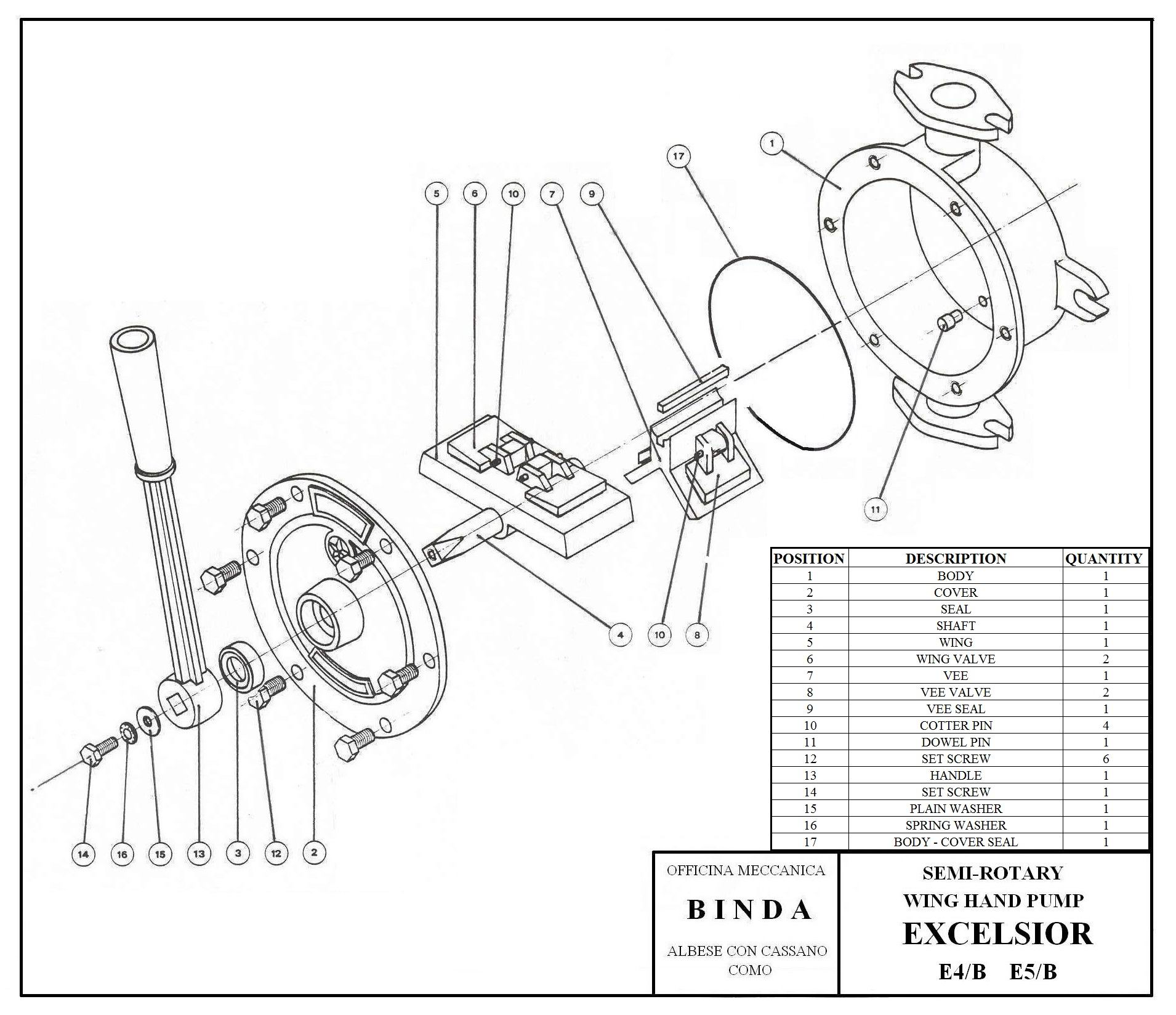 Binda Excelsior G Semi-Rotary Hand Pump & Manual Pump