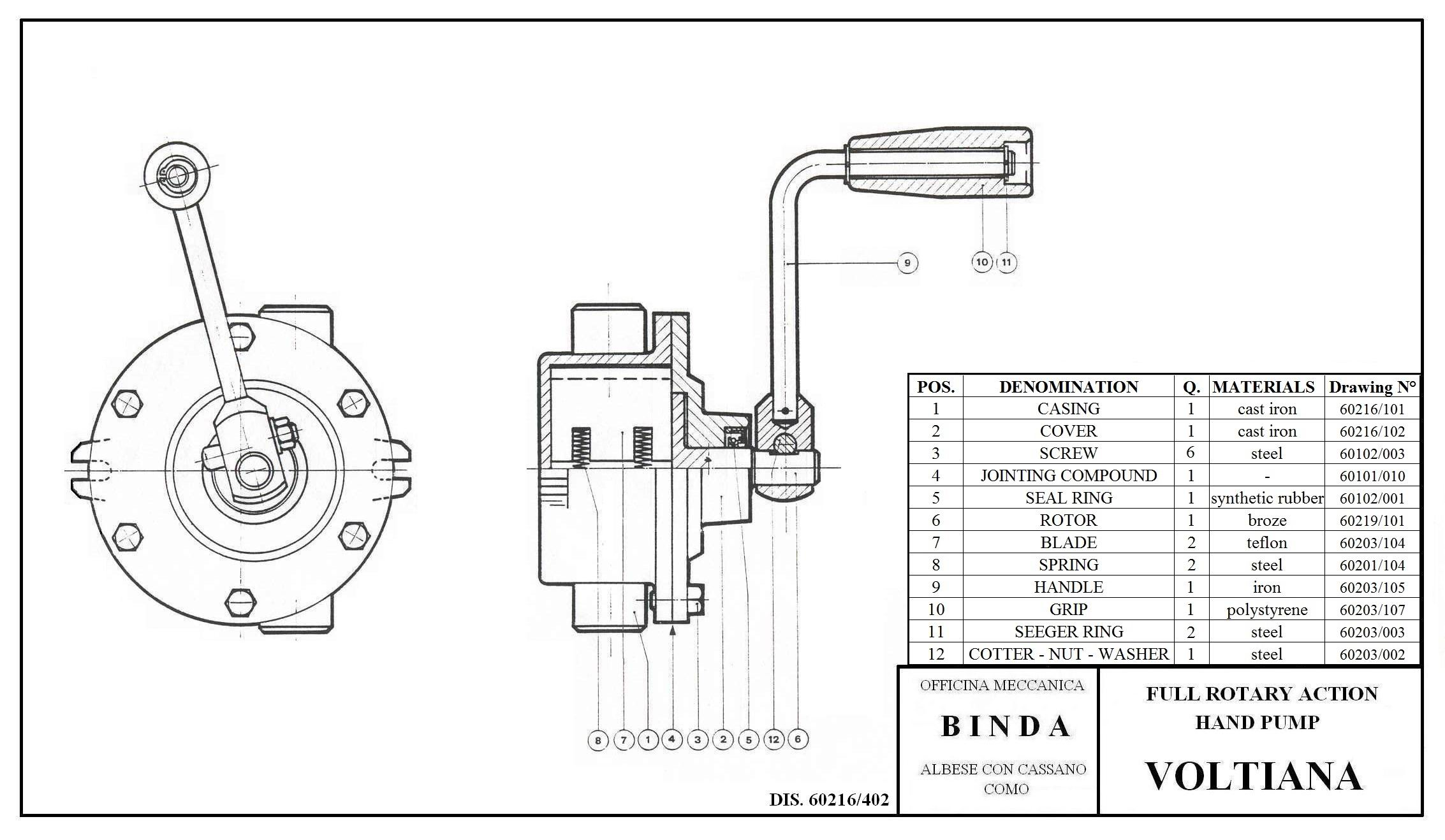 Binda Voltiana Rotary Hand Pump Amp Manual Pump