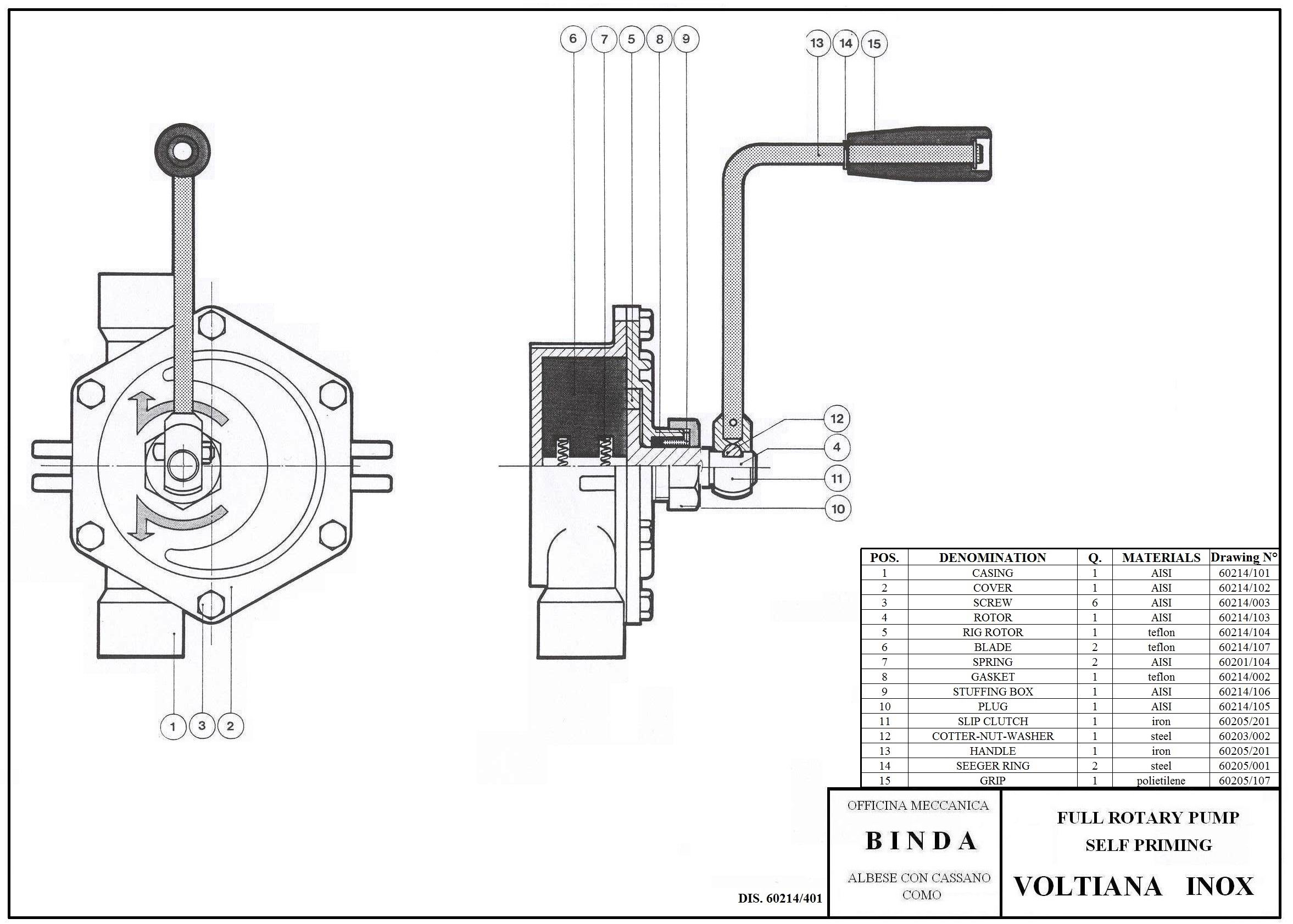 Binda Voltiana Inox Rotary Hand Pump Amp Manual Pump