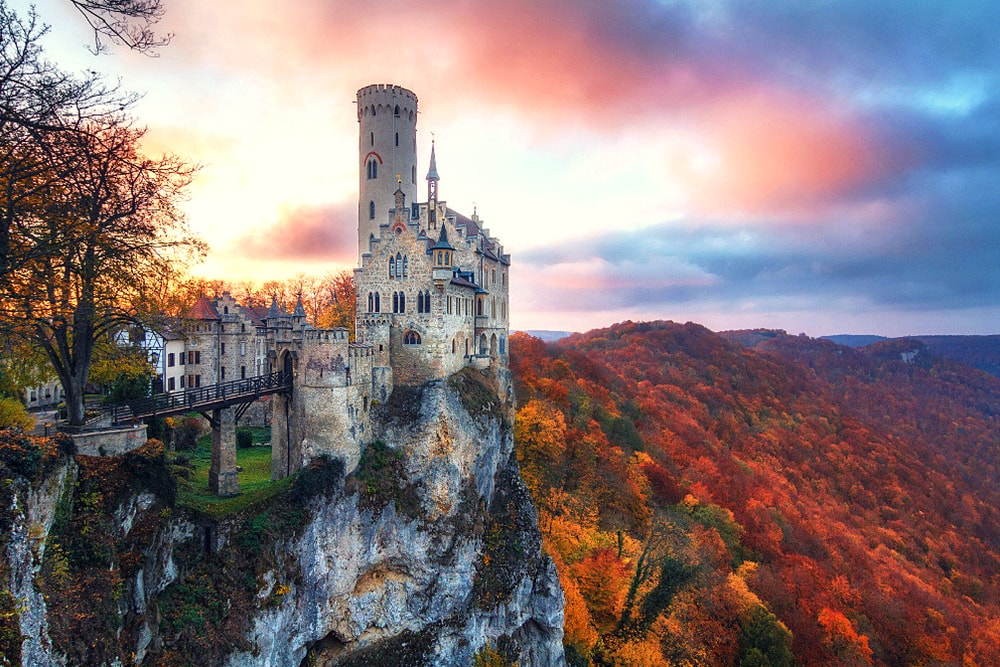 Leaves Wallpaper Fall Lichtenstein Castle The Fairy Tale Castle Of W 252 Rttemberg