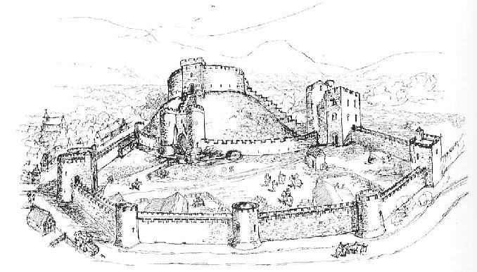 What is left of Crickhowell Castle, Powys, Wales. Rebuilt