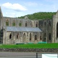Below the abbey viewed from the south