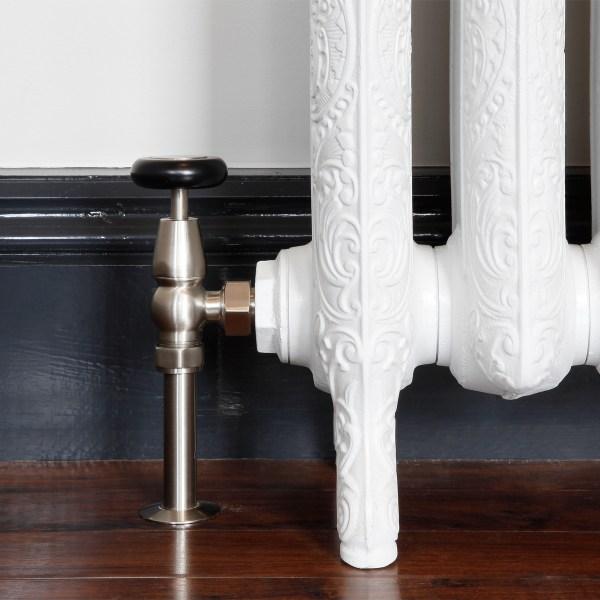 Windsor Satin Nickel Manual radiator valves with shrouds