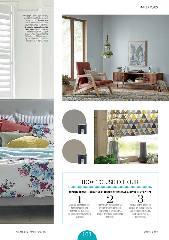 Cambridge Edition Magazine, June 2018. Article on how to use colour. geometric kitchen blind with yellow, grey and blue colours. Colourful floral bedsheets.