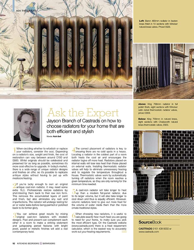 Kitchens, Bedrooms & Bathrooms Magazine, October 2017. Asking the expert, choosing efficient and elegant radiators. Image of bird wall paper and cast iron radiator in brass finish. Second image with black metro tiled bathroom and brass finished radiator.